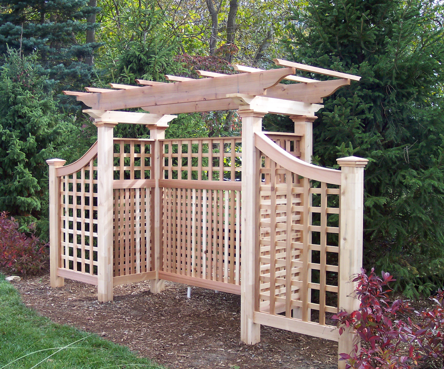 arbour sustainable garden cedar page woodwork post top curved structures