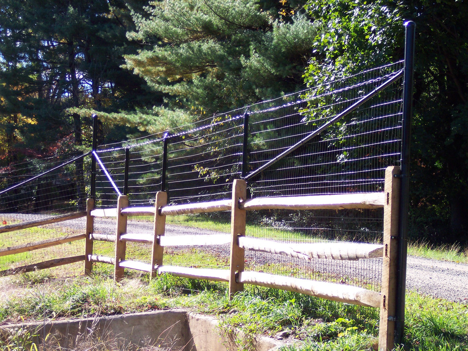 split rail with deer fence extensions