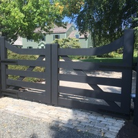 Black coated wood gate.
