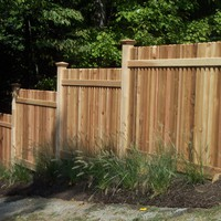 Red cedar picket fence